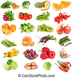 Set of fresh vegetables. fruits and berries