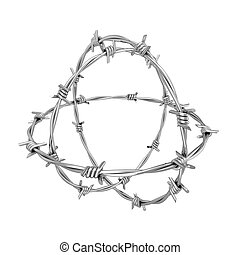 Barbed wire 3d illustration isolated on white background