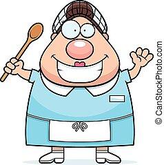 Cartoon Lunch Lady Waving - A cartoon illustration of a...