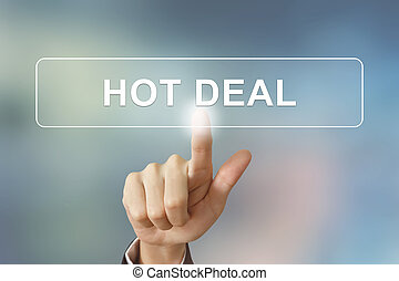 business hand clicking hot deal button on blurred background...