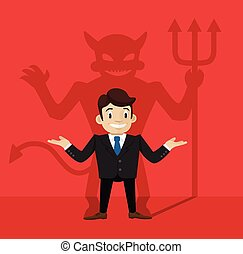 Businessmans devil shadow