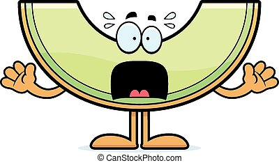 Scared Cartoon Honeydew - A cartoon illustration of a...