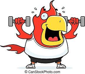 Cartoon Phoenix Dumbbells