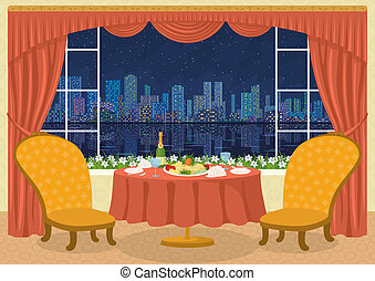Restaurant with city view - Restaurant background with two...