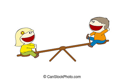 Two children on a seesaw