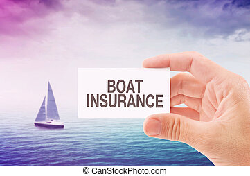 Boat Insurance Agent Holding Business Card, Sailing Boat on...