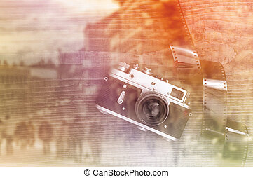 Retro style vintage photo camera - Retro style vintage...