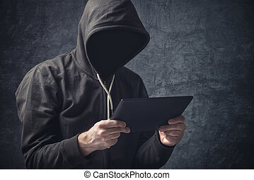 anonyme, unrecognizable, homme, à, numérique,...