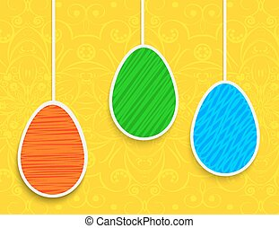 Easter background with hanging on the ropes eggs