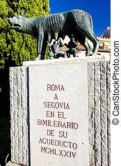 monument of Roman aqueduct, Segovia, Castile and Leon, Spain