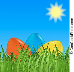 Easter background with colorful eggs