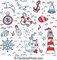 Nautical Sea Seamless Pattern - for scrapbook and design in...