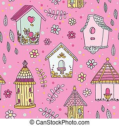 Cute Bird House Background - Seamless Pattern - in vector