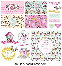 Cute Birt Party Set - for Baby Shower, Wedding, Party Decoration - in vector