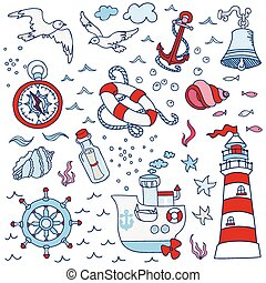 Nautical Sea Design Elements - for scrapbook and design in vector