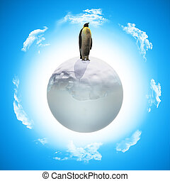 3D penguin on icy globe