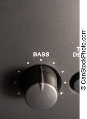 Bass Knob - A closeup view of the Bass controller knob on a...