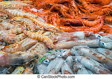 Shrimps and squid at a market - Shrimps and squid for sale...
