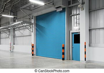 Door - Shutter door or rolling door blue color, night scene.
