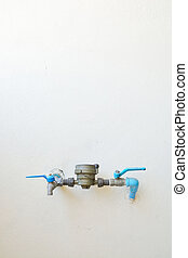 Water Meter and Valve with Pipe on white Wall