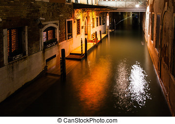 Venice by night in italy, one of the most beutiful city in...