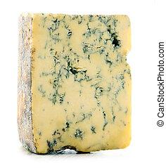 pedaço, de, azul, queijo, isolado, ligado, branca,