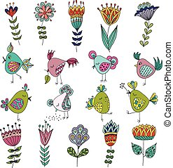 Set of cute birds in different actions with flowers.
