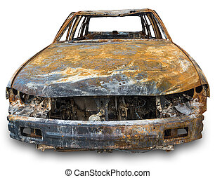 burnout car , Isolation on a white background with clipping...