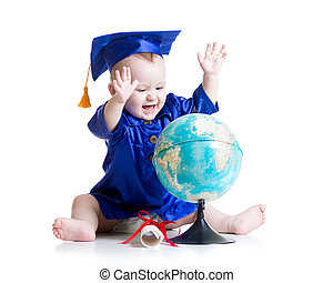 baby in academician clothes with globe isolated - baby boy...