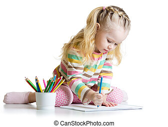 Cheerful child girl drawing with pencils in preschool -...
