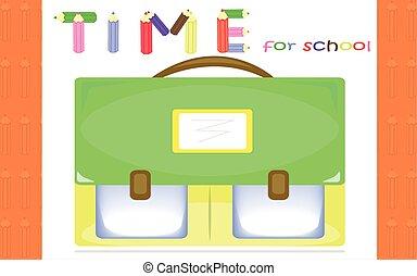 Time for school - Orange background with schoolbag for...