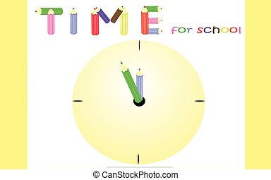 Time for school - Yellow background for students preparing...