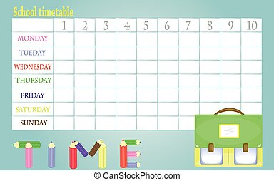 School timetable - White background with school timetable...