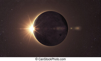 Solar eclipse - Eclipse of the sun, Solar eclipse with sun...
