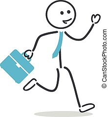 Businessman run with briefcase and tie
