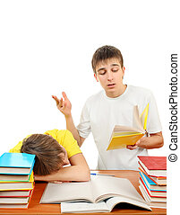 Brothers doing Homework - Older Brother and Bored Little...