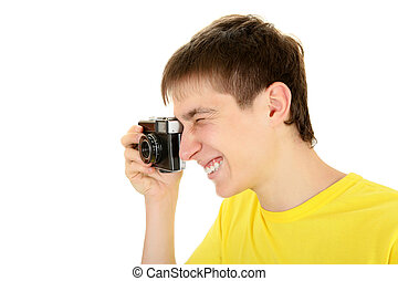 Teenager with Photo Camera - Teenager Take a Picture with...