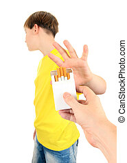 Kid refuse Cigarettes Isolated on the White Background