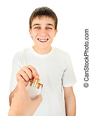 Teenager take a Cigarette - Young Man take a Cigarette on...