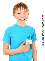 Teenager with a Badge - Cheerful Kid with a Badge on t-shirt...