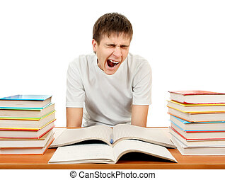 Tired Student with a Books - Tired Student Yawning on the...