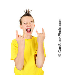 Kid with Sign of the Horns Isolated on the White Background