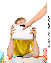 Fight for Tablet Computer - Parent dragging Tablet from the...
