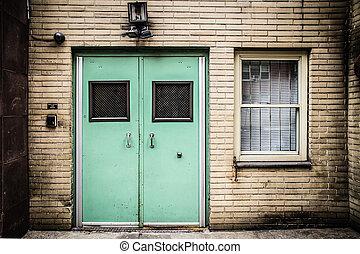 Door - Institutional facility doors on building exterior