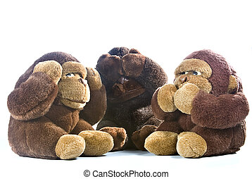 Three monkeys - Three plush gorillas represnting the proverb...