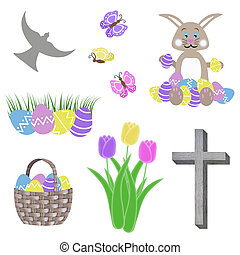 easter collage bunny eggs cross