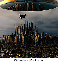 3d alien UFO space ship above night city - 3d alien UFO...