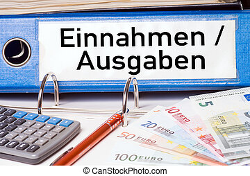 File folder with the german words Revenue and expenditure