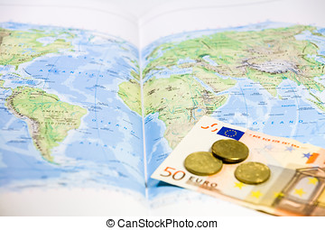 World map Euros and coins - Paper world map, with a fifty...