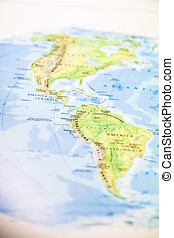 Map of the Americas - Paper map of the American continents...